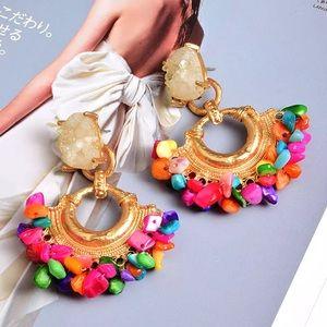 Colorful Druzy Stone Hoop Earrings